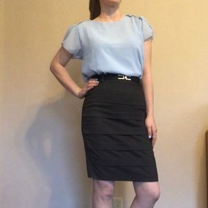 Light Blue Short Sleeve Business Blouse
